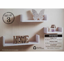 Set of 3 U Shape Floating Wall Shelves Storage Display Shelf Contemporary White
