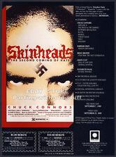 SKINHEADS__Original 1989 Trade print AD movie promo__CHUCK CONNERS__BARBARA BAIN