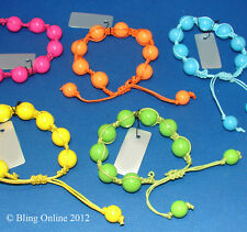 *BOGOF* BRIGHT NEON BEAD CORD SHAMBALLA FRIENDSHIP BRACELET GREAT FOR PARTY BAGS
