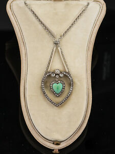 RARE EDWARDIAN TURQUOISE AND DIAMOND NECKLACE BROOCH FROM KOCH ROYAL JEWELERS