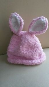 baby pink bunny hat