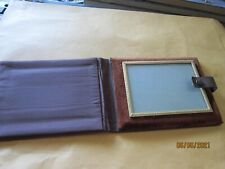"""Leather pouch 6x4 1/2"""" Carry Case Antique felt metal & glass 4x3"""" Picture Frame"""