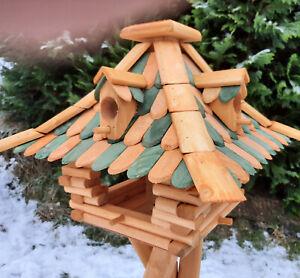XXL Vogelhaus Vogelfutterhaus Luxus Vogelhäuschen Vogelvilla mit Futtersilo Holz