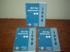 1998 Chevrolet GMC M/L Van Dealership Shop Repair Service 3 Manual Set.