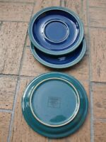 DENBY~ENGLAND~HARLEQUIN~GLAZED STONEWARE~ 4~SAUCERS~GREEN&BLUE or BREAD PLATES