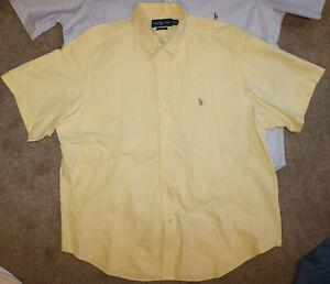 Mens Polo Ralph Lauren Custom Fit Short Sleeve Yellow Oxford Shirt SZ XXL
