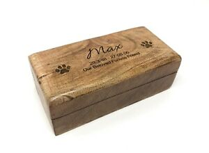 Personalised Mango Wood Pet Memorial Ashes Urn Cremation Casket Dogs Cats