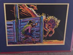 "Larry Pirnie "" Gate Breaker"" Framed Acrylic on Canvas Painting- 28""x20"".Original"