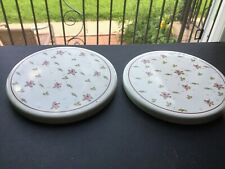 Shabby Chic Metal Burner Covers For Stove White With Pink Roses