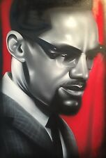 Malcom X  On Canvas 24 X 36 Black Art Civil Rights By Any Means Necessary