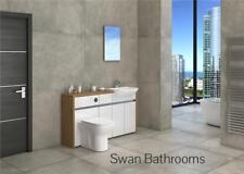 OAK / WHITE GLOSS BATHROOM FITTED FURNITURE 1500MM