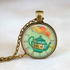 Alice In Wonderland Drink Me Fairy Tale Necklace Bronze Chain Pendant Necklace