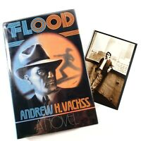 FLOOD: Andrew H Vachss 1985 Signed 1st edition First novel w/ Autograph Postcard