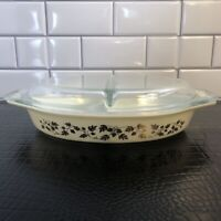 Vintage Pyrex Golden Acorn Divided Casserole Baking Dish with Lid  1-1/2 Quart