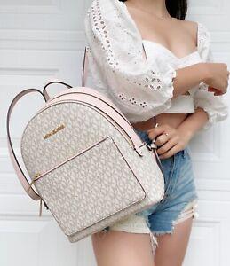 Michael Kors Medium Adina Backpack PVC Leather Vanilla MK Pink Powder Blush