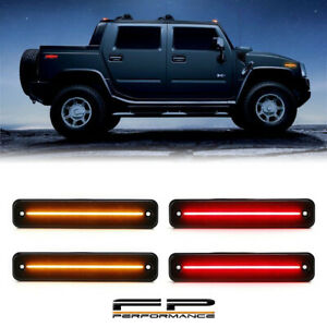 For 03-09 Hummer H2 LED Smoke Len Amber Red Parking Corner Side Marker Light Kit