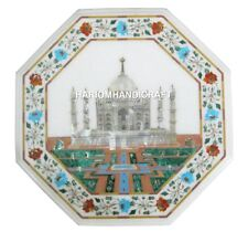 """18"""" Marble Inlaid Table Top Beautiful Mother Of Pearl Tajmahal Home Decor H1921B"""