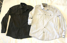 LOT of 2 H&M Utility Style L/S Button Dress Shirts Sz S Light Blue, Army Green