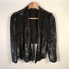 Karen Millen Jacket UK Size 8 Black Sequin Jacket Winter Cropped Evening JK064