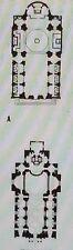 Comparative Plans,Church of Val-de-Grace,Paris, France,Magic Lantern Glass Slide