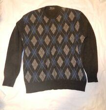 Burberry 100% Cashmere Sweater made in Scotland 46 Men Diamond Design