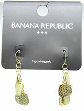 New Pair of Hammered Disc Gold Tone Earrings by Banana Republic #BRE11