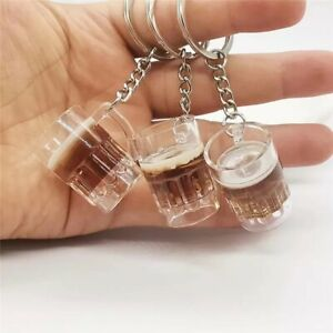 Beer Cup Keychain Lovely Resin Crafts Unisex Cold Drink Mugs Pendant Keyring
