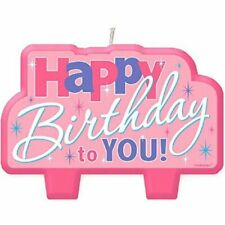 Happy Birthday Candle PINK Cake Topper Colorful Birthday Party Supply Decoration