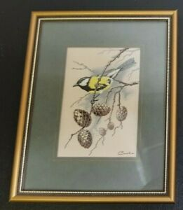 """VINTAGE CASHA WOVEN PICTURES FRAMED PICTURE : GREAT TIT 7.5"""" X 6"""""""