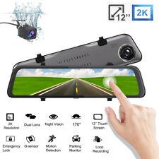 12 In Car DVR 2K Dash Cam Camera Rearview Mirror Video Recorder MP4 G-sensor WDR