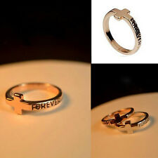 1pc Cross Gold Plated Forever Love Ring Small Size Little Finger Ring Cute Rings
