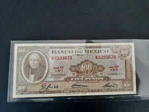 Banknote,Mexico,1961(vf) 100 pesos.