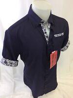 Mens INSOMNIA By MANZINI SHORT SLEEVE Dress Shirt PURPLE PAISLEY TRIM ROAR NS-18