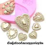 Love Heart Wedding Valentine Silicone Cake Mould Set Sugarcraft Cup Cakes UK