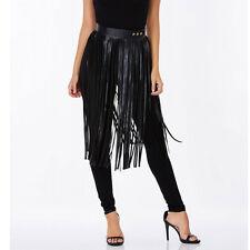 Ladies Hippie Boho Samba Fringe Tassel Black Faux Leather PU Long Belt Skirt