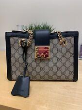 Authentic Gucci Padlock GG Supreme Canvas Shoulder Bag Small Black Leather