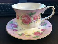GRACE'S TEAWARE PINK & WHITE W/ DARKER PINK ROSES & FLOWERS CUP & SAUCER - NEW