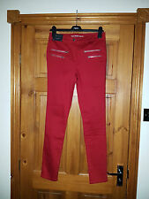 NEXT BRIGHT RED SKINNY 'THE BIKER' STYLE JEANS UK 12R EUR 40 NEW WITH TAG