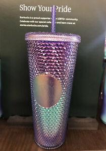 New Starbucks Summer Blue Purple Ombre Bling 2021 Studded ColdCup Tumbler 24oz