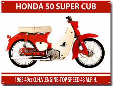 VINTAGE HONDA MOPEDS. A3 SIZE HONDA 50 SUPER CUB MOPED METAL SIGN.