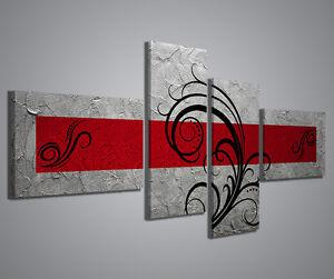 Quadri Moderni astratti Abstract Argento Rosso 160x70cm stampe su tela Canvas