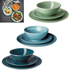 Dinnerware Stoneware Set Dinning Service Plate Bowl Plain Ikea Fargrik 12 18 Pcs