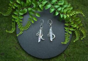 Witch raw crystal earrings-dangle jewelry-Celestial earrings with healing quartz