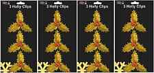12 x Gold Glitter Holly Leaves & Berry Sprigs Christmas Cake & Craft Decorations
