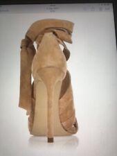 river island beige suede heels new in box 6 tie up