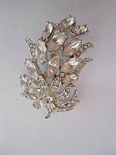 "Vintage Silver Tone Pin/Brooch Clear  Rhinestone Flower Leaves 1.5"" Long"
