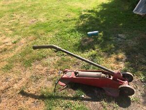 kismet trolley compressor. Vintage garage tyre pump. Red chassis. Brass cylinder