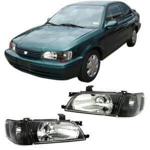 Headlights Fit For Toyota Tercel 1995-1999 Head lamp (Black Housing+Clear Lens)