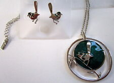 NICKEL FREE NECKLACE & EARRING SET RHODIUM COATED SILVER & OPALISED GREEN WREN