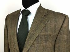 RALPH LAUREN Mens 40S Brown Herringbone Tweed Orange Plaid Lambswool Sport Coat